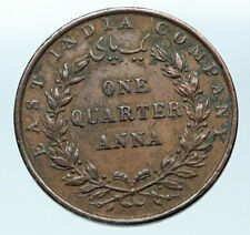 1835 BRITISH INDIA UK COLONY East India Co. Antique Genuine 1/4 Anna Coin i83722