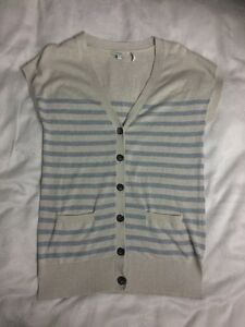 Delightful FAT FACE Stripy Sleeveless Cardigan-size 10. Worn Once! Blue/ Cream.