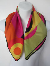 CHRISTIAN FISCHBACHER red pink yellow orange green abstract print silk scarf