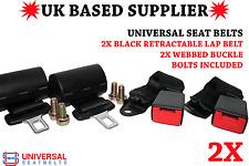 2 x Black Universal Retractable Lapbelts & 23cm Webbed Buckle Ends. UK VAT INC.