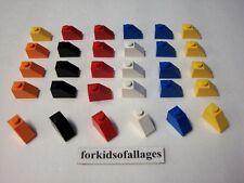 30 Lego 1 x 2 SLOPE ROOF TILE BRICKS Orange Black Red White Blue Yellow