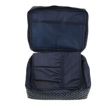 Travel Cosmetic Storage Makeup Bag Folding Hanging Toiletry Wash Organizer Pouch Dark Blue Square