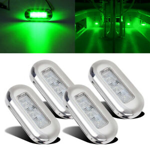 "4pcs Flush Mount 3"" Inch Oblong Green LED Navigation Courtesy Light Marine 12V"
