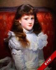 YOUNG GIRL LONG BROWN HAIR IN WHITE DRESS OIL PAINTING ART PRINT ON REAL CANVAS
