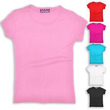 Girls T Shirt Kids Teen Gym Top Plain Cotton Short Sleeve New Age 2-14 Years