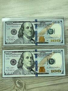 2x $100 Star Note Lot Low Serial Number Lightly Circulated