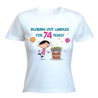 BLOWING OUT CANDLES FOR 74 YEARS 74th BIRTHDAY T-SHIRT - Gift Present -Size S-XL