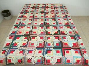 OUTSTANDING All Cotton Some Feed Sack Hand Sewn BARN RAISING LOG CABIN Quilt