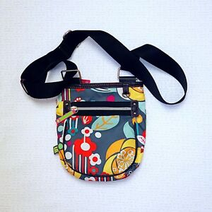 Lilly Bloom Small Cross-Body Purse Multi Color Floral Pattern Adjustable Strap