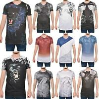 Mens Printed T Shirts Summer Short Sleeve Crew Neck Casual Tee Shirt Top S - 2XL