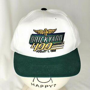 Vintage Brickyard 400 Snapback Hat August 1 1998 NASCAR White Green Embroidered
