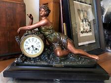 """Antique French Figural/Statue Nouveau Lady Clock- """"Reveuse"""" By Guilleme"""