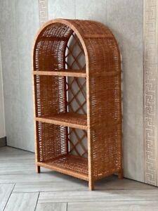 Rattan Wicker Shelf / Vintage Bookshelf / Wicker Rustic Stand Cabinet / Wicker