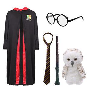 KIDS WIZARD COSTUME SCHOOL WORLD BOOK DAY OWL GLASSES MAGIC WAND TIE
