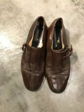Stanley Blacker Mens Monk Strap Oxford Dress Brown Leather Shoes - SZ 10M 10