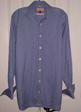 THOMAS PINK CLASSIC MEN'S DRESS SHIRT FRENCH CUFFS BLUE CHECKED SIZE 15 33 1/2