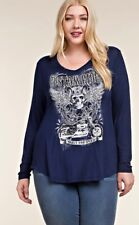 VOCAL PLUS SIZE CRYSTAL BLUE SKULL MOTORCYCLE BIKER WINGS SHIRT 1X 2X 3X USA