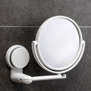 Wall Suction Mirror Shower Shaving Bathroom Travel Makeup Cosmetic Bath White