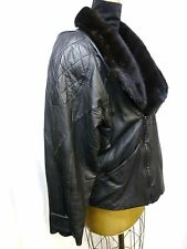 Black Lamb Leather Jacket with Ranch Mink Collar #222~L~Mint Condition~Vintage