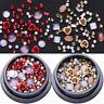 2 Boxen Metall Rose Opal Kristall Strasssteine Perle Korn 3D Nail Art Decoration