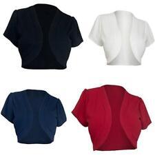 S~5XL Basic Short Sleeve Cropped OPEN CARDIGAN Plain Stretch Shrug Bolero JJ