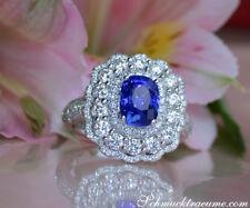 Ausgesuchter Ceylon Saphir Ring mit Diamanten in Weißgold 750, 3,33 ct. 10.700€