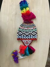 PERUVIAN CHULLO HAT WITH BEADS MULTICOLOURED RAVE FESTIVAL  HAND MADE ^17