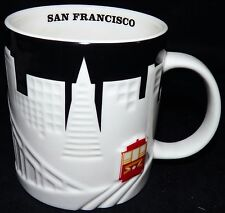 Starbucks 2012 San Francisco City Relief Coffee Mug Black White Cable Car 18 oz