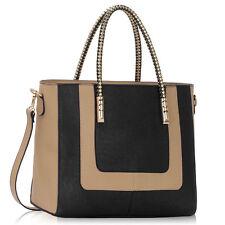 Ladies Two Tone Handbags Women's Large Designer Fashion Faux Leather Tote Bags