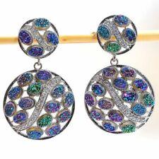 "Titanium Druzy, White Topaz Gemstone Silver Fashion Jewelry Earring 1.9"" SE8656"