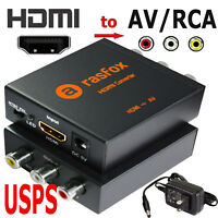 Powered HDMI to AV / RCA Converter Box Composite Audio Video CVBS Adapter 1080P