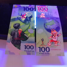2pcs Russia Banknote New 100 Rubles 2018 Fifa World Cup Souvenir Banknote New