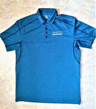 OGIO Brand Polo Shirt Men's Large Blue Polyester MERITOR BLUE HORIZON Logo-USED