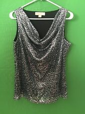 6877)  MICHAEL KORS sz S silver black sleeveless knit top sequin fitted drape