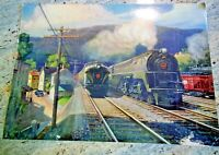 Pennsylvania Railroad Wall Calendar Top Grif Teller Vintage 1947 Laminated 24x18