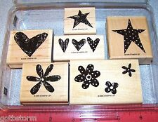 Polka Dots Hearts Rubber Stamp Set Flowers Stars Floral by Stampin Up Love It