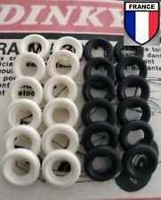 Lot de 24 Pneus tyres Dinky toys Blancs/noirs lisses  15/8 neuf.