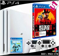 PS4 PLAYSTATION 4 PRO 1TB BLANCA + 2 MANDOS BLANCOS + JUEGO REDEMPTION 2 FORNITE