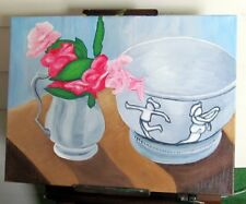 Original Oil Painting, still life, bowl and pitcher of roses on a table
