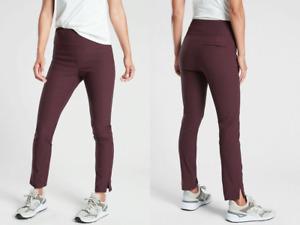 NWT ATHLETA Sz 2 Womens Wander Slim Ankle Nylon Spandex Athleisure Pant Burgundy