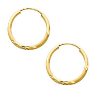 14K Real Yellow Gold 1.5mm Thick Diamond Cut Satin Endless Small Hoop Earrings