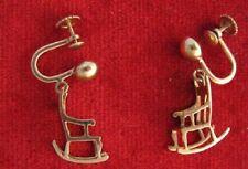 14K Solid Gold  Rocking Chair Earrings - Screw Backs