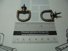 2 ANTIQUE BRASS PLATED BRAIDED ROUND PLAQUE RING PICTURE FRAME HANGERS + SAMPLES
