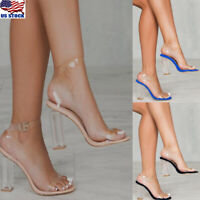 Women Clear Transparent Shoes Block High Heels Ankle Strap Open Toe Sandals Size