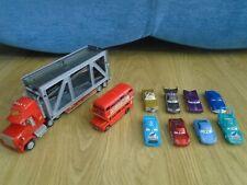 Disney Pixar Cars Bundle Mack Truck Transporter Lorry, London Bus, Diecast Cars