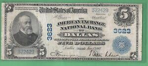 ***  1902  $5.00 NATIONAL DALLAS TEXAS    ****