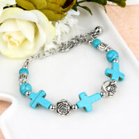 Boho Women Tibetan Silver Turquoise Stone Beads Cross Bangle Bracelet Jewelry