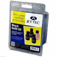 Jet Tec R26 Black Refill Kit bottles For Brother Canon Dell Epson HP Lexmark
