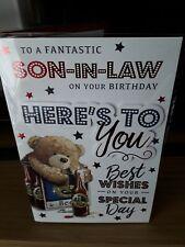 LARGE SON-IN-LAW BIRTHDAY CARD & ENVELOPE BEERS CUTE INSERT PRELUDE FREEPOST
