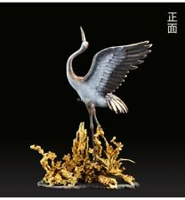 18'' top brass copper fine workmanship home decor auspicious birds crane statue